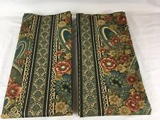 "VTG Croscill Green Gold Art Deco Floral RIMINI 40""x84"" Lined Curtain Panel Pair"