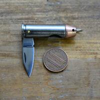 Copper Top Bullet Knife Pendant - Folding Steel Blade - Jewelry Charm