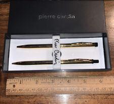 PIERRE CARDIN Pen & Pencil Set Chrome With Gold Trim Small Grip  **NEW**
