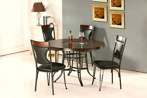 5 Piece Dining Set Dining Table Side Chair Bronze Brown Dining Room Furniture