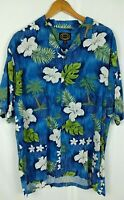 Hawaiian Reserve Collection Shirt XL Blue Floral Made in Hawaii