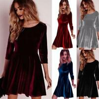 AU Women 3/4 Sleeve Party Dress Skater Evening Cocktail Prom Short Dress Casual