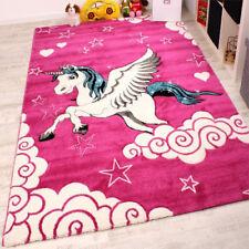 Pink Animal Rug Girls Bedroom White Horse Kids Unicorn Play Carpet Small Large