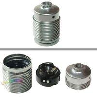 E27 Metall-Fassung Schraubmantel, Nip.gew.M10x1 Druckfeder,chromfarben