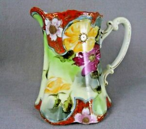 Jeweled Pitcher Antique  Floral Gold Trim Red Yellow