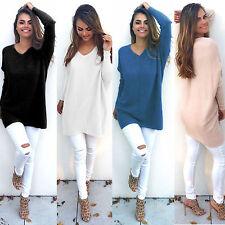 Damen V-Ausschnitt Strick Pullover Longpulli Sweats Jumper Tops Shirt Longshirt
