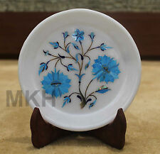 White Marble Round Serving Dish Plate Mosaic Turquoise Inlay Home Decorative