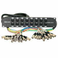 Rack Mount 16 Channel XLR TRS Combo Splitter Snake Cable - 5' and 15' XLR trunks