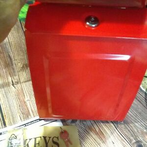 Aspen Locking Wall Mount Mailbox Steel Color: RED New No Box Complete w/ Keys