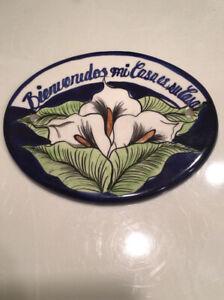 Bienvenidos Mi Casa es su Casa Calla Lilies Welcome Sign Ceramic Tile Mexico