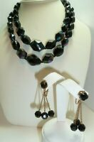 Vintage 1950's WEST GERMANY Double Strand Black Bead Necklace & Dangle Earrings