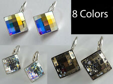 GENUINE SWAROVSKI CRYSTAL CHESSBOARD & ASYMETRIC SQUARE &  SPACE CUT EARRINGS