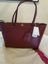Tory Burch Parker Tote Nwt And Dustbag Imperial Garnet Midnight Swim