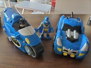 Mattel 2007 DC Comics Batman Car & Motorcycle With Sound + Imaginext Figure