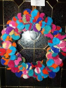 Anthropologie Multicolor Pom Pom Wreath