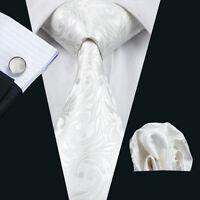 Luxus Paisley Krawatte Set Weiß Einstecktuch Knöpfe Herren Breit Hochzeit K163