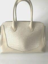 Woman Beige IACUCCI Made in Italy Genuine Leather  Satchel Handbag sz XL