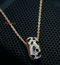 18k Rose Gold Filled Crystal Black Enamel Golden Leopard Necklace N179