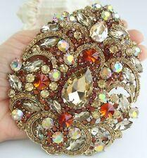 "Teardrop Brooch Pin Pendant 04045C4 Art Nouveau 4.92"" Topaz Rhinestone Crystal"