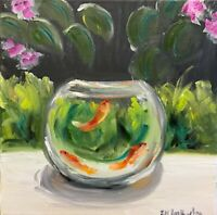 Framed print of Original oil painting art on canvas gold fish contemporary art