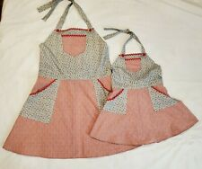 New listing Mommy Mom & Me Matching Bib Aprons Size Large Red & Blue Pockets