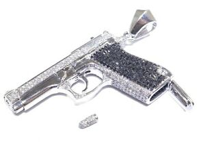 14k White Gold Round Cut White & Black Diamond 9.63ct Gun With Bullet Pendant