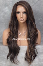 "Heat Safe long Wavy Layered LACE FRONT WIG Brown mix L Mono Part 24"" AUR 4.30"