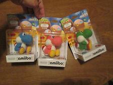 YARN YOSHI GREEN,PINK,BLUE Amiibo Yoshis Woolly World Nintendo Wii U COMPLETE US