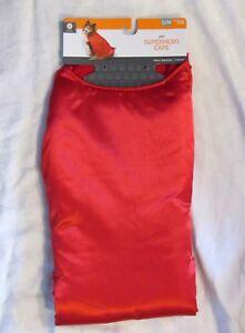 Pet Dog or Cat Costume Red Superhero Fleece Lined Satin Cape / Coat Sz S / M NEW