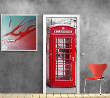 Adesivo da porta inganna l'occhio cabine telefonica inglese 73x204cm ref 583