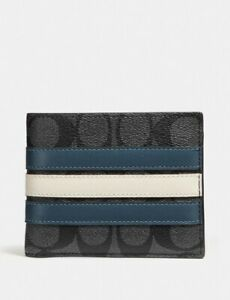 Coach F26072 Men's 3-In-1 Varsity Leather Stripe Midnight Compact ID Wallet $175