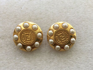 Vintage Fendi FF Pearls Encircling Logo 1925 Roma Italy Janus Back Clip Earrings