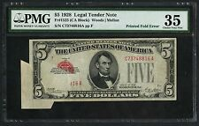 FR1525 $5 1928 LEGAL TENDER PMG 35 CHOICE VF PRINTED FOLD ERROR WLM3318