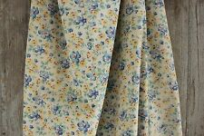 Vintage French floral fabric faded floral material 1940's 1950's blue yellow