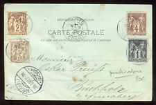 Affranchissement ( quadricolore ) de Paris sur carte postale en 1898 - N383