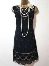 BOOHOO Années 20 Gatsby Garçonne Charleston sequin perles embelli Robe SZ UK14