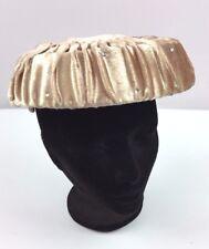 Vintage 50s Womens Pink Pillbox crushed velvet Rhinestone Hat Fashion Satin Bow