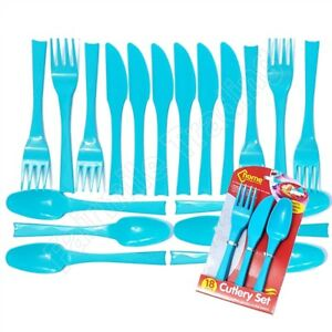18 Reusable Plastic Cutlery Knives Forks Spoons Camping Party Picnic Beach