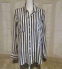 Banana Republic Womens Large Black White Stripes Long Sleeve Career Shirt Top p