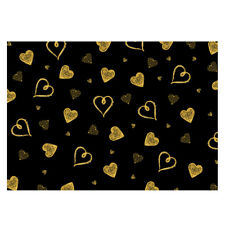 Unique High Quality Gold Hearts/Black Background Gift Wrap - (297x420mm)-GP156