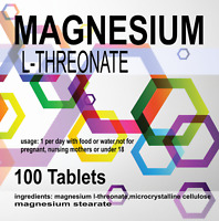 100 x MAGNESIUM L-THREONATE | 500mg Tablets | Bioavailable Form for the Brain
