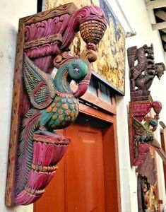 Peacock Wall Corbel Pair Antique Wooden Bracket Vintage Sculpture Shelf Decor UK