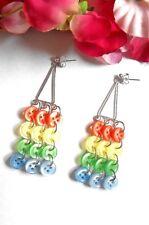 UNIQUE Long Button Drop Earrings