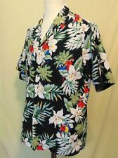 Evergreen Island Men's Size XL Vintage Hawaiian Shirt Parrots Floral
