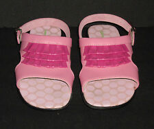 Hanna Anderson Pink/Pink Leather Sandals Flower Soles GIRLS Size Eur 32 USA 1A