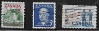 Canada Scott #392-94, Singles 1961 Complete Set FVF Used
