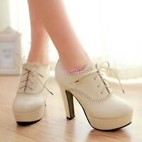 Womens Lace Up High Block Heel Round Toe Vintage Retro Mary Janes Leather Shoes