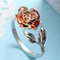 Rose Flower Ring For Women S925 Sterling Silver Adjustable Ring Wrap Open P D5N7