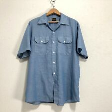 Vintage Washington Dee Cee Chambray Work wear utility Shirt no iron blue indigo