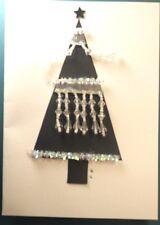Handmade Christmas Black Tree with Crystal Gems Card is Blank Inside